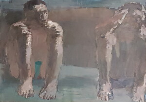 2 Men resting _ Crouch pose  _ oil on white carton _ 85 x 115 cm . (?) - 2013 _15
