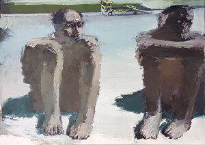 2 men sitting crouch, sideways : truck lift behind _ oil on w. carton _ 85 x 115 cm _lr_2013 - 15