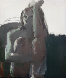 Tight - fig. seated, 67 x 77 cm, oil on canvas, 2020